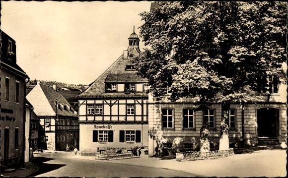 Ak Geising Altenberg Erzgebirge, Rathaus, Saitenmacherhaus, Zentralschule, Sparkasse
