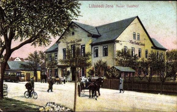 Ak Löbstedt Jena in Thüringen, Neuer Gasthof, Straßenpartie, Straßenbahn, Pferdekutsche