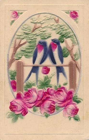 Präge Passepartout Ak, Rosen, sitzende Schwalben