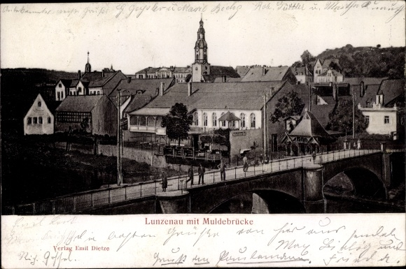 Relief Ak Lunzenau in Sachsen, Muldenbrücke, Panorma vom Ort