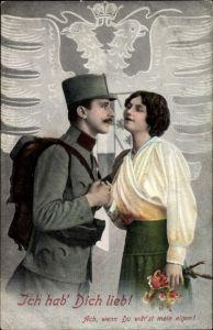 Ak Ich hab Dich lieb, Soldatenliebe, Frau mit Blumen, Österreichischer Soldat in Uniform