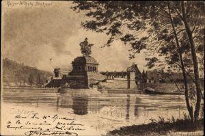 Künstler Ak Koblenz in Rheinland Pfalz, Blick über das Wasser auf das Kaiser Wilhelm Denkmal