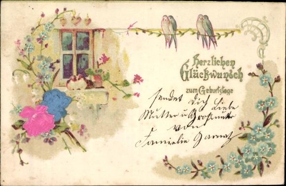 Präge Material Ak Glückwunsch Geburtstag, Blumen, Schwalben