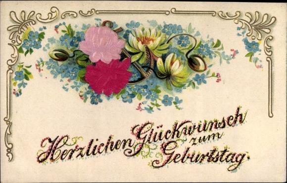 Präge Material Ak Glückwunsch Geburtstag, Blumen, Anker, Vergissmeinnicht