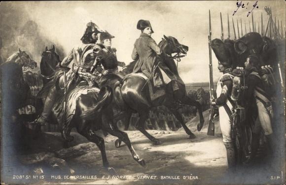 Künstler Ak Vernet, E. J. Horace, Napoleon Bonaparte, Schlacht bei Jena, Bataille D' Iena