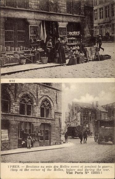 Ak Ypres Westflandern, Coin des Halles, Geschäft an der Straßenecke vor und während dem Krieg, I. WK
