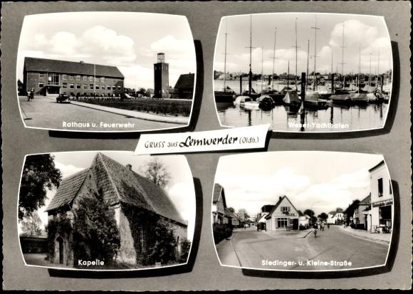 Ak Lemwerder in Niedersachsen, Teilansichten, Yachthafen, Feuerwehr, Rathaus, Kapelle