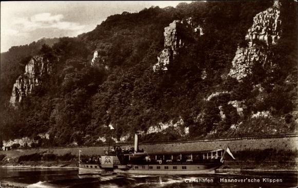 Ak Bad Karlshafen an der Oberweser Hessen, Dampferpartie an den Hannover'schen Klippen