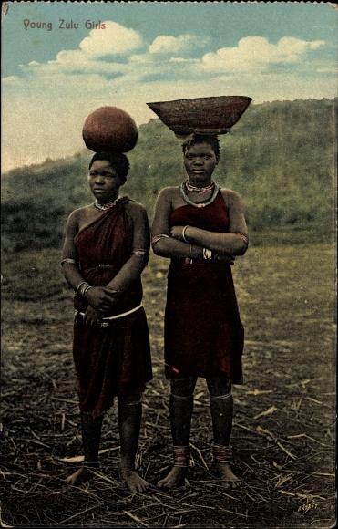 Ak Young Zulu Girls, Zwei junge Afrikanerinnen, Lasten auf dem Kopf