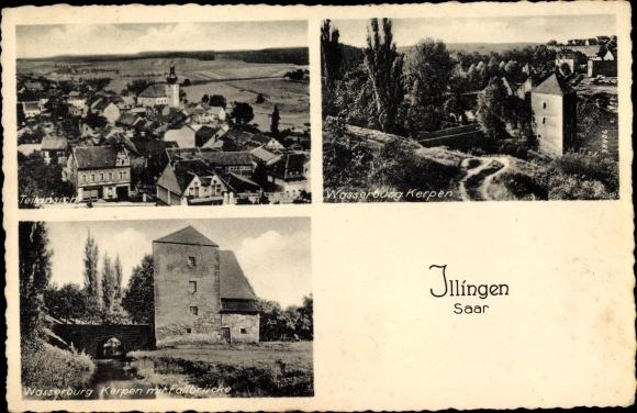 Ak Illingen an der Saar, Teilansicht, Wasserburg Kerpen mit Fallbrücke