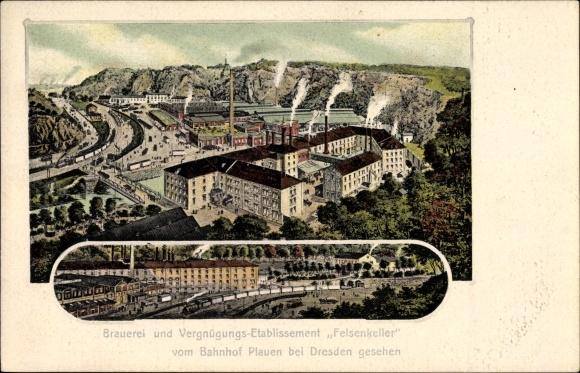 Ak Dresden Süd Plauen, Brauerei und Vergnügungsetablissement Felsenkeller, Bahnhof