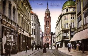 Ak Krefeld am Niederrhein, Rheinstraße mit Dionysiuskirche