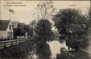 Ak Brunsbüttel in Dithmarschen, Partie am Kaiser Wilhelm Kanal, Brunsbüttelhafen, Langereihe