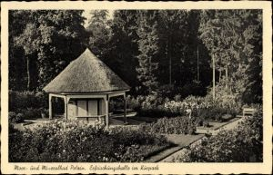 Ak Polczyn Zdrój Bad Polzin Pommern, Erfrischungshalle im Kurpark, Pavillon