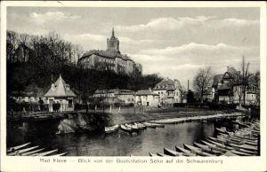 Ak Kleve am Niederrhein, Blick von der Bootstation Scho auf die Schwanenburg