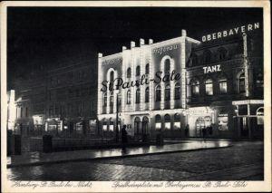 Ak Hamburg Mitte St. Pauli, Spielbudenplatz mit Wilhelm Meyer´s Oberbayern und St. Pauli Säle, Nacht