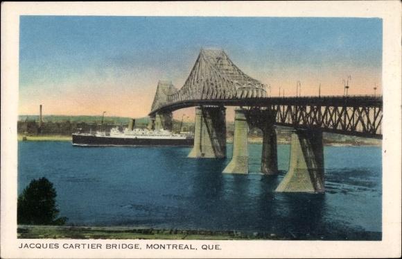 Ak Montreal Québec Kanada, Jacques Cartier Bridge, Blick auf Brücke und Dampfer