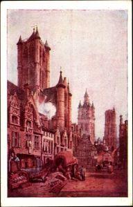 Künstler Ak Prout, S., Gent Ostflandern, Straßenpartie in der Stadt um 1833