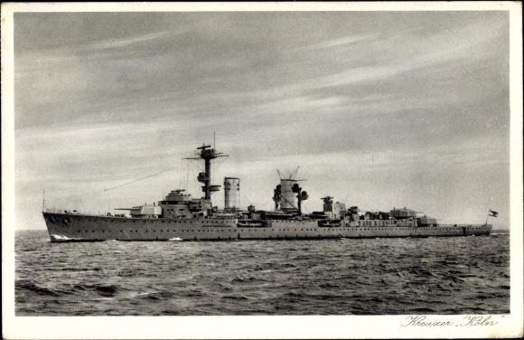 Ak Deutsches Kriegsschiff, Kreuzer Köln auf hoher See