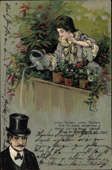 Präge Litho Unter Blüten, unter Blättern bist du sicher aufgehoben, Blumengießen