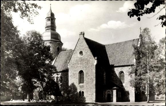 Ak Zeven in Niedersachsen, Ansicht der St. Viti Kirche, Bäume