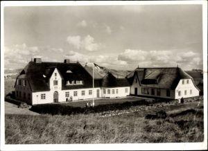 Ak Kampen auf Sylt, Blick auf das Haus Kliffende, mit Reetdach