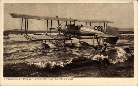 Ak Französisches Marineflugzeug, 21, Breguet Doppeldecker, Biplan, I. WK