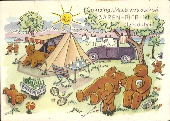 Künstler Ak Kett, Braunbären beim Campingurlaub, Zelt, Werbung Bären Bier, Bären Brauerei AG