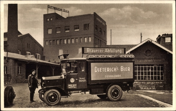 Ak Düsseldorf am Rhein, Brauerei Abfüllung Dieterichs Bier, Kraftwagen vor der Brauerei