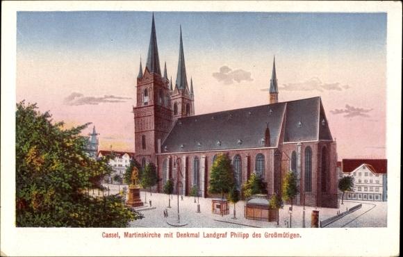 Ak Kassel In Hessen Martinskirche Mit Denkmal Landgraf Philipp Des