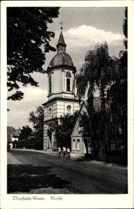Ak Diepholz in Niedersachsen, Straßenpartie mit Blick zur Kirche