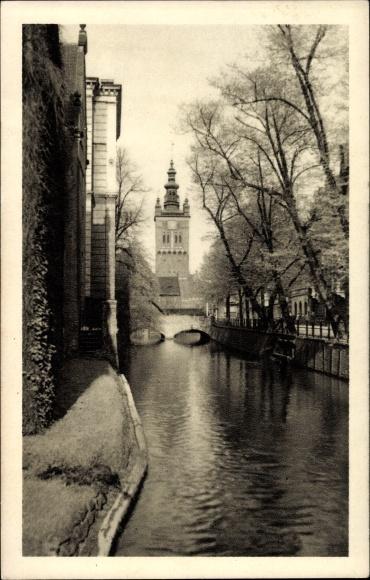 Ak Gdańsk Danzig, Blick auf St. Katharinen, Brücke