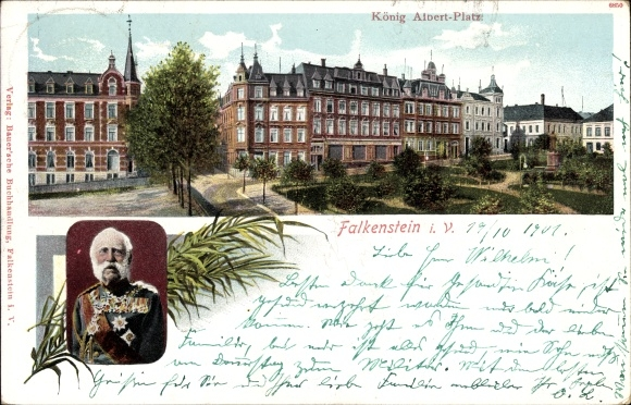 Ak Falkenstein im Vogtland Sachsen, König Albert Platz, König Albert