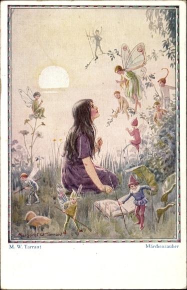 Künstler Ak Tarrant, Margaret W., Märchenzauber, Mädchen bei Sonnenuntergang mit Elfen, Feen
