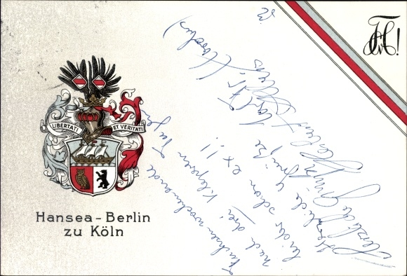 Ak Köln am Rhein, Hansea Berlin zu Köln, Libertati et Veritati, Wappen