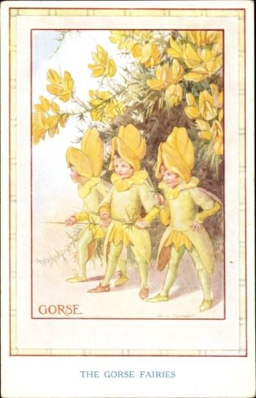 Künstler Ak Tarrant, Margaret W., The Gorse Fairies, Ginster, Feen, Elfen, Blüten