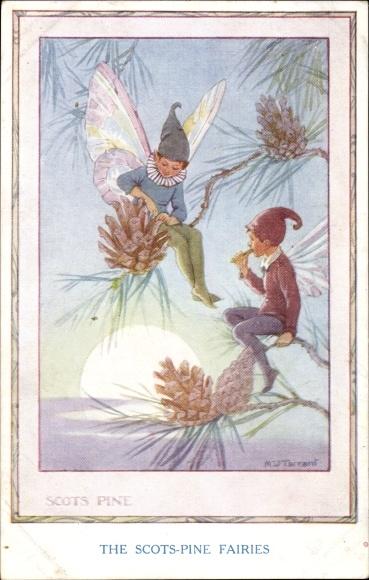 Künstler Ak Tarrant, Margaret W., The Scots Pine Fairies, Feen auf einem Nadelbaum, Zapfen, Sonne