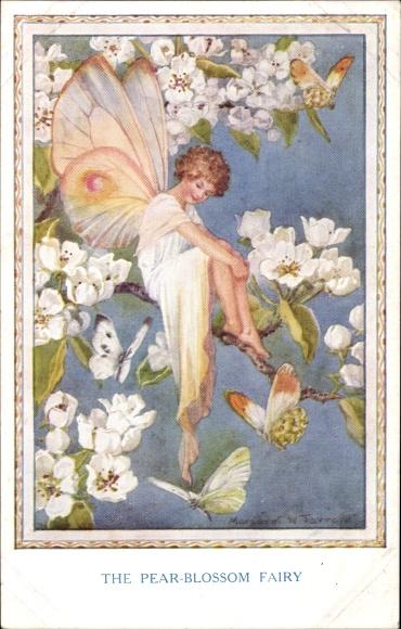 Künstler Ak Tarrant, Margaret W., The Pear Blossom Fairy, Fee im blühenden Birnenbaum, Schmetterling