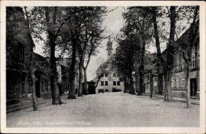 Ak Lenzen an der Elbe im Kreis Prignitz, Hauptwache mit Rathaus