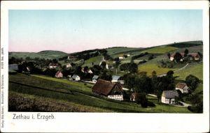 Ak Zethau Mulda Landkreis Mittelsachsen, Ortschaft mit Landschaftsblick