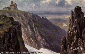 Künstler Ak Schmidt, F., Szklarska Poręba Schreiberhau Riesengebirge, Schneegrubenbaude, Schronisko,