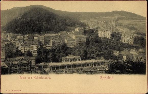 Ak Karlovy Vary Karlsbad Stadt, Blick auf Stadt von der Hubertusburg