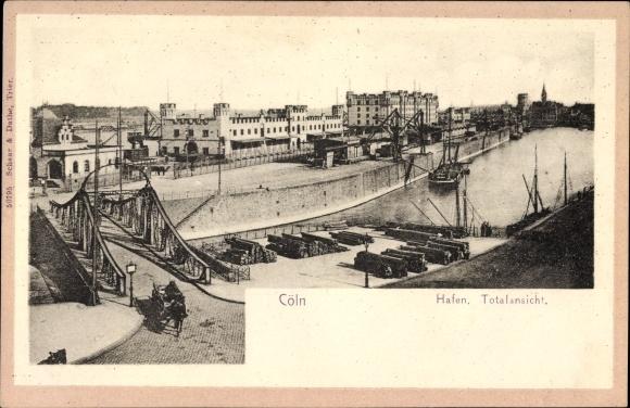 Ak Köln am Rhein, Blick auf den Hafen, Brücke, Boote