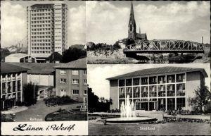 Ak Lünen in Nordrhein Westfalen, Stadtbad, Rathaus, Marienkirche und Lippe, Hochhaus
