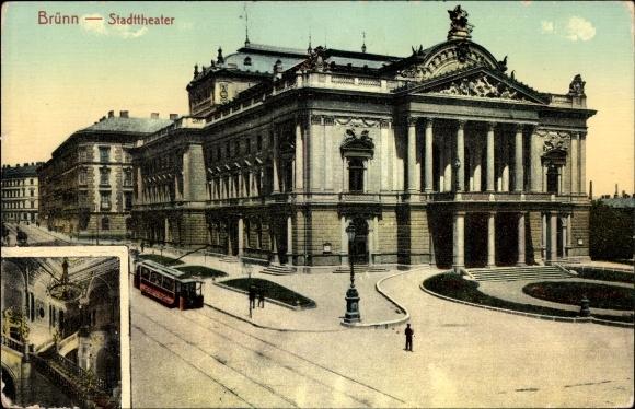 Ak Brno Brünn Südmähren, Ansicht vom Stadttheater, Straßenbahn