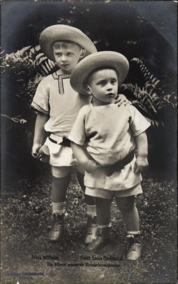 Ak Prinz Wilhelm und Prinz Louis Ferdinand von Preußen, Söhne des Kronprinzenpaares