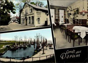 Ak Dorum Wurster Nordseeküste Landkreis Cuxhaven, Simgens Hotel, Porthaus, Hafen, Fischerboote