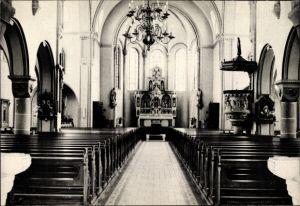 Ak Langförden Vechta in Niedersachsen, Innenansicht der Kirche, Altar, Gebetsbänke