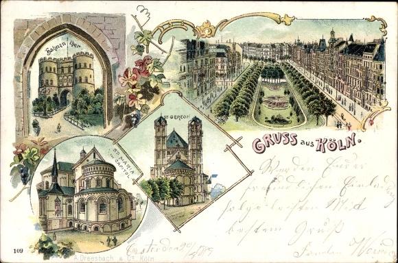 Litho Köln am Rhein, Hahnentor, St. Gereon, St. Maria im Capitol