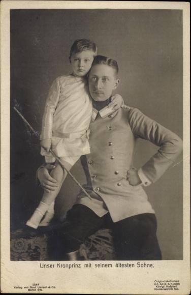 Ak Kronprinz Wilhelm von Preussen mit seinem ältesten Sohn Wilhelm Friedrich, Liersch 2584